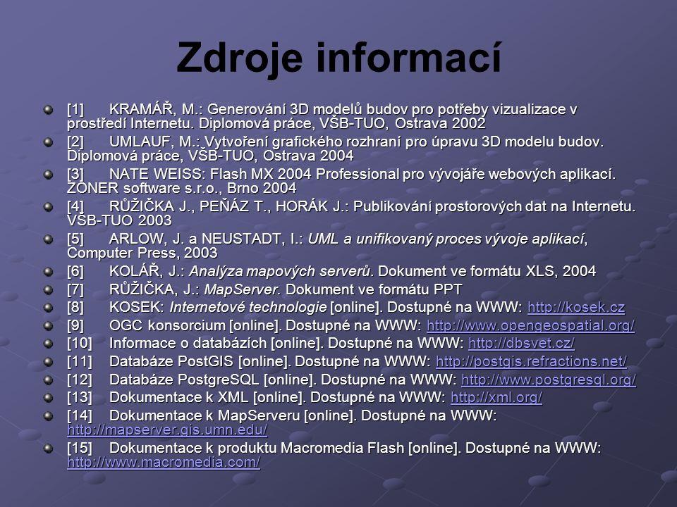Zdroje informací [1] KRAMÁŘ, M.: Generování 3D modelů budov pro potřeby vizualizace v prostředí Internetu. Diplomová práce, VŠB-TUO, Ostrava 2002.